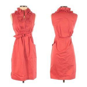 Elie Tahari Sleeveless Pleated Coral Tie Dress, 2